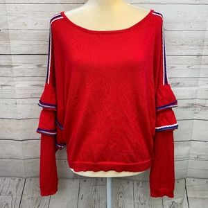 Love by Design Nordstrom Red Bell Sleeve Sweater